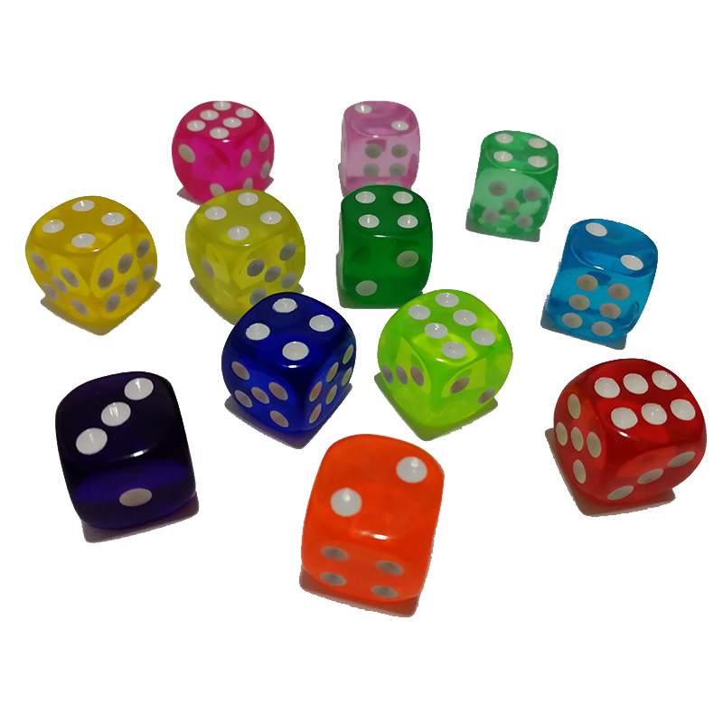 10PCS/Lot Drinking Dice 14MM Round Corner Clear Dices Colorful Board Game Dice Party Gambling Cubes Dados Digital Dices Cube(China)
