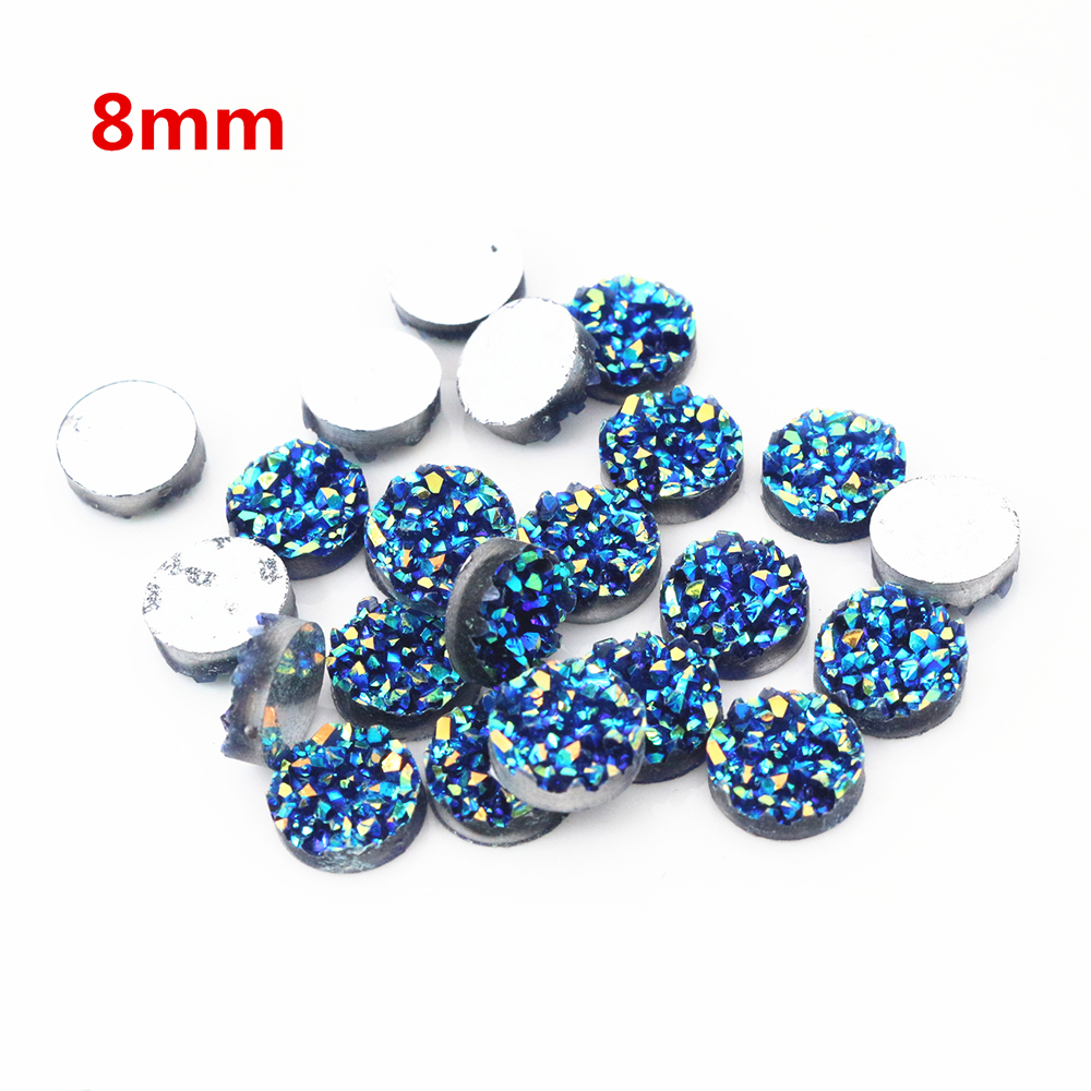 New Fashion 40pcs 8mm Blue AB Colors Natural Ore Style Flat Back Resin Cabochons For Bracelet Earrings Accessories-T3-18