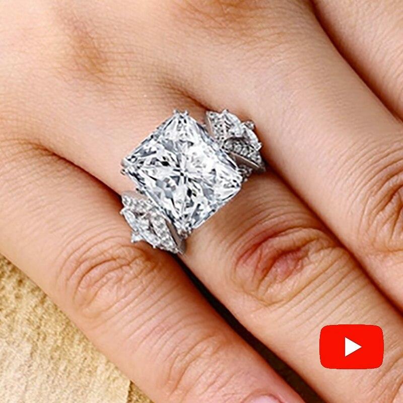Sona nie fałszywe grzywny grawerowanie pierścień S925 Sterling srebrny diament niestandardowy pierścień oryginalny Design 925 kwadratowe wycięcie w Pierścionki od Biżuteria i akcesoria na  Grupa 1