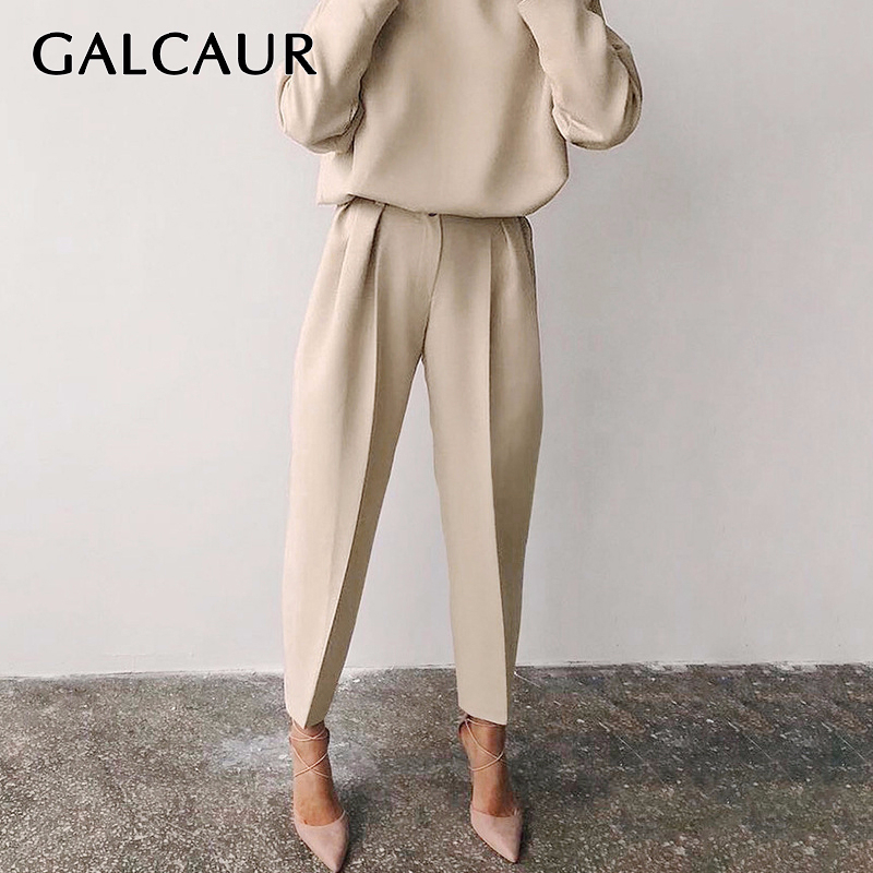 GALCAUR Elegant Women Ankle-length Pant High Waist Ruched Straight Blazer Pants For Female Fashion Clothing 2020 Spring Tide