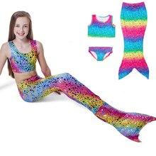 Модный детский хвост русалки купальные костюмы для девочек, 3 предмета, спандекс, купальный костюм для девочек, красивый купальник, купальный костюм