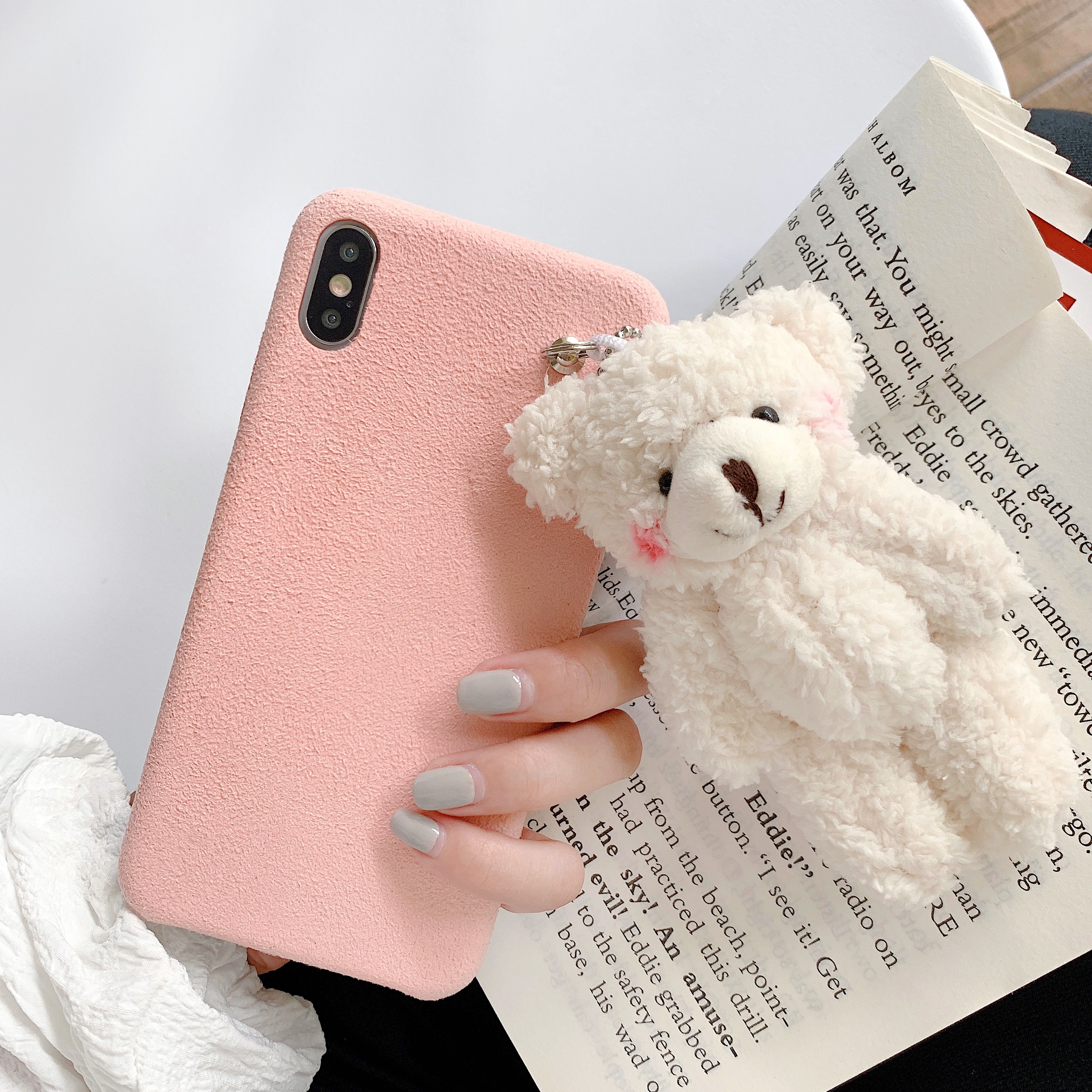 Winter Series Macaron Blush Bear Short Fluff Case for iPhone 11 Pro Max XS Max XR X Phone 6 6S 7 8 Plus Furry Warm CASE Cover Khaki-for iPhone XR