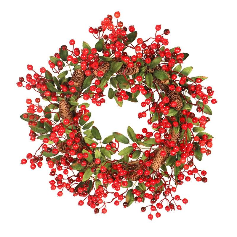 60cm big size Red Berry Christmas Wreath Hanging Door Garland Garland Wall Door Pendant Christmas Ornament Wedding Decorations