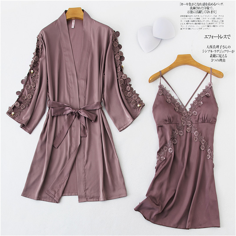 Daeyard Women Robe & Gown Sets Sexy Lace Sleep Lounge Cross Straps Pijama Ladies Floral Appliques Nightwear Bathrobe Night Dress