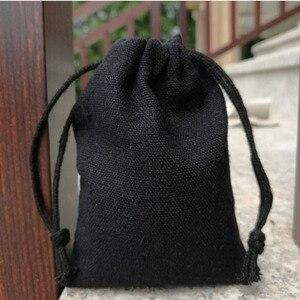 Image 2 - Bolsa de algodón negro para joyas, 8x10cm, 9x12cm, 10x15cm, 13x17cm, paquete de 50 bolsas de regalo para maquillaje, saco de caramelos de fiesta