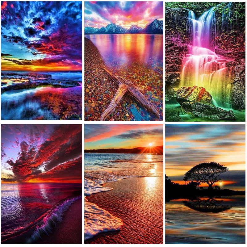 Diamond Painting Landscape 5D DIY Diamond Embroidery Full Drill Square Seaside Sunset Picture Of Rhinestone Sunrise Decor Home image