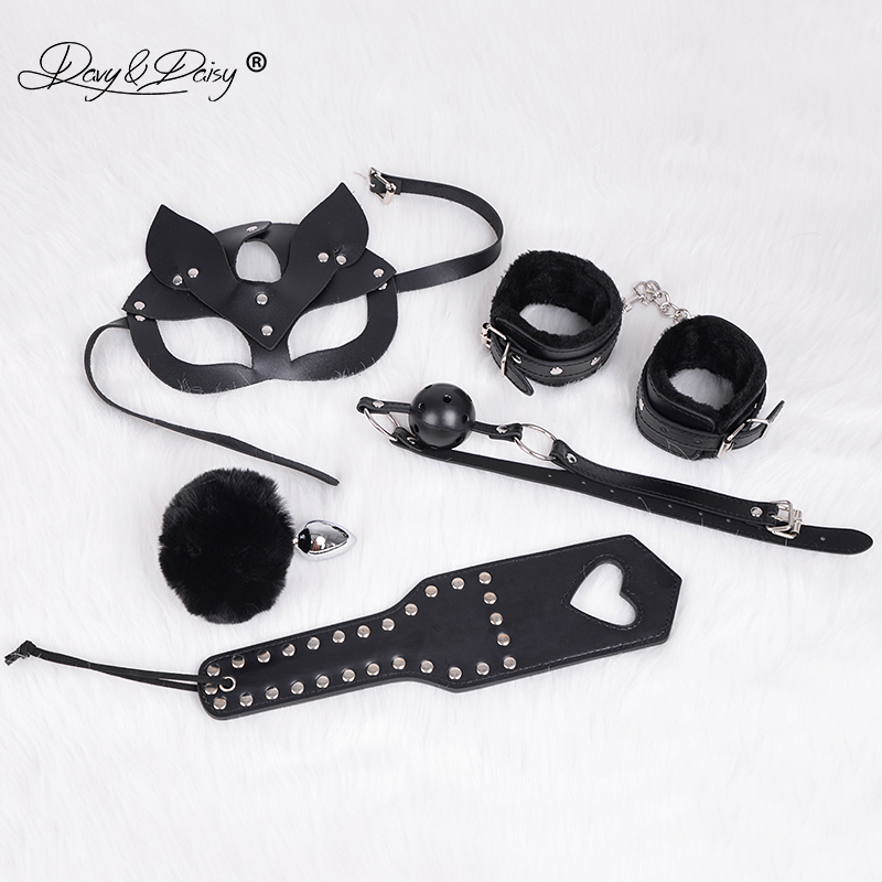DAVYDAISY PU Leather BDSM Bondage Set Cat Mask Handcuffs Whip Mouth Gag Rabbit Tail Anal Plug Sex Toys For Couples AC510