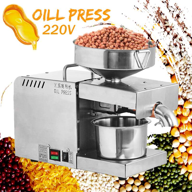 220V Oil Press Machine Small Business Equipment Machine Stainless Steel Oil Pressure Peanutss Sesame Nut Oil Extractor EU Plug