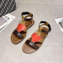 2021 Sandals Women's Summer New Fashion Women's Sandals All-match Casual and Comfort Love Flat Shoes Gladiator Beach Sandalen