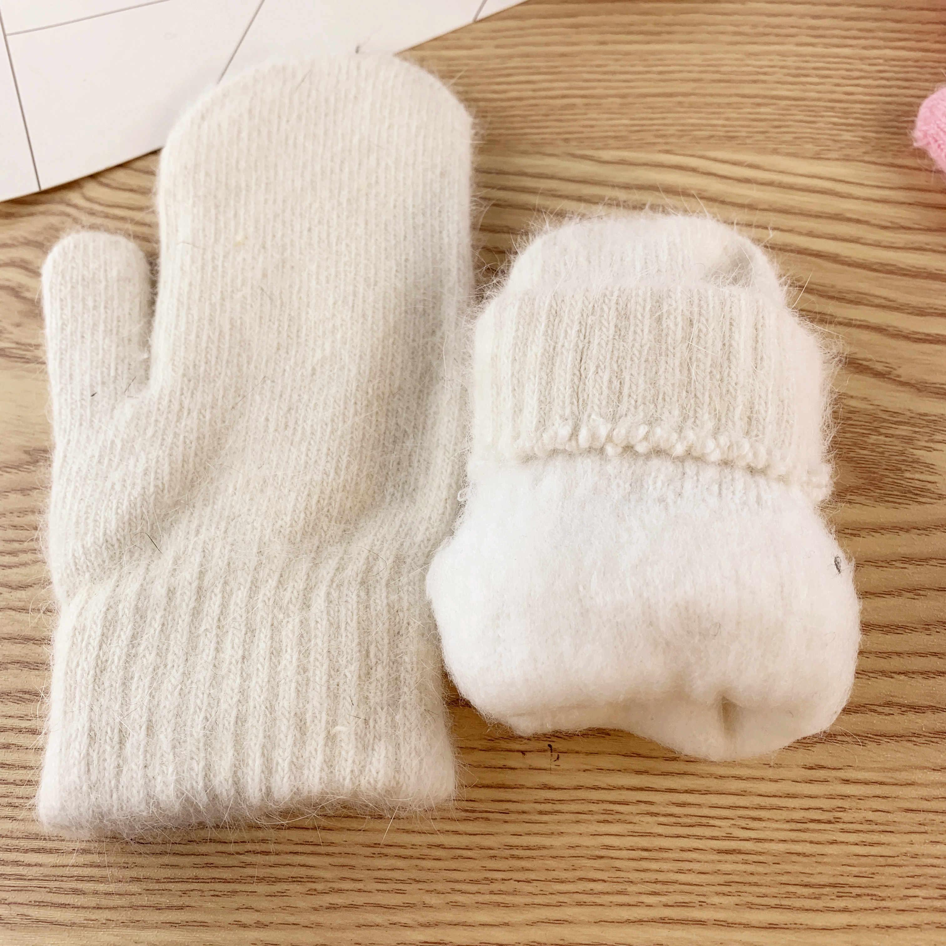Double-Layer Rambut Kelinci Sarung Tangan Musim Dingin untuk Wanita Versi Korea dari Warna Solid Jari Musim Dingin Wanita Sarung Tangan Anak Perempuan Sarung Tangan