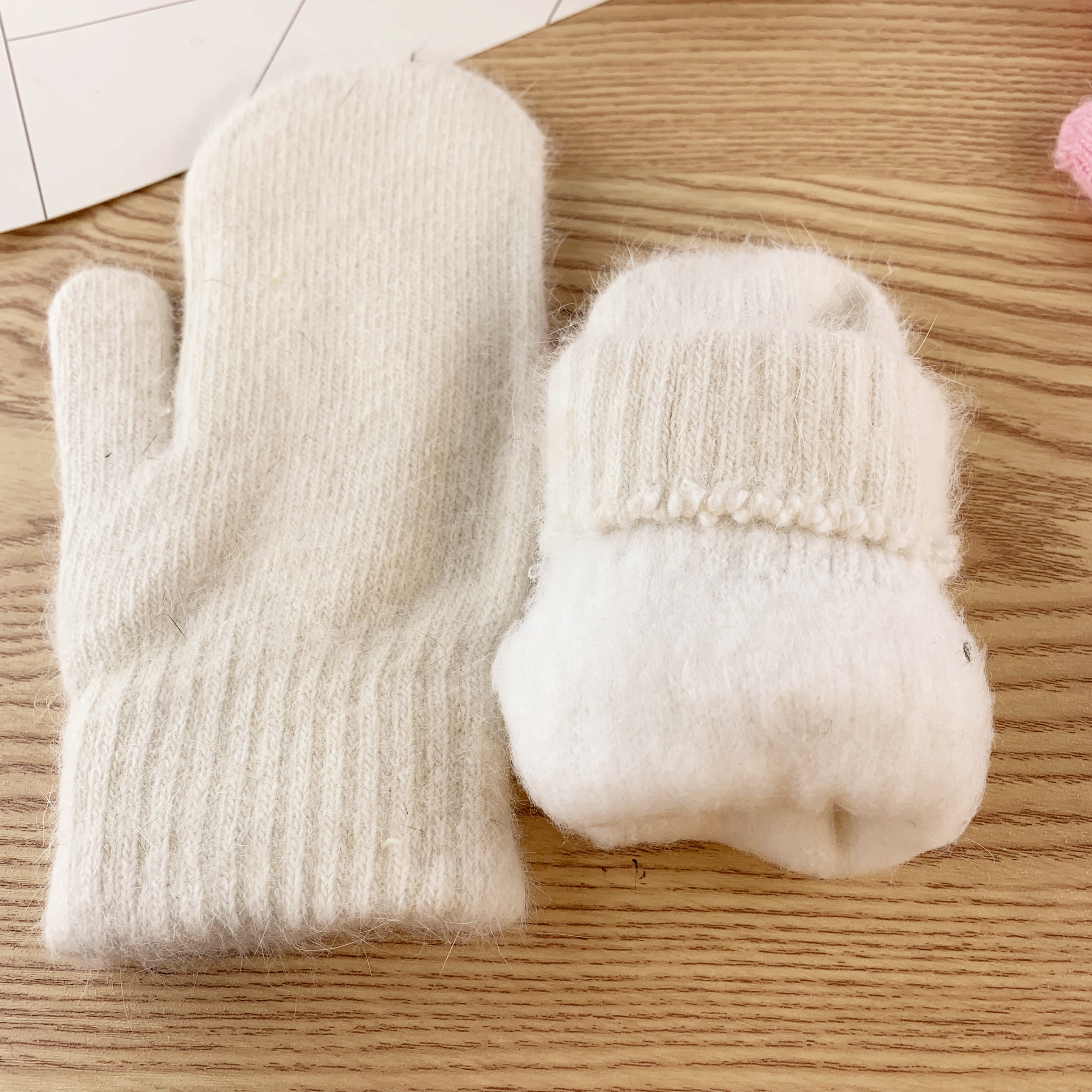 Double layer rabbit hair gloves female winter Korean version of solid color all fingers winter women