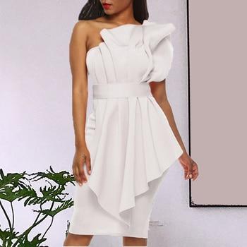 Party Dress Women's Cocktail Dresses Knee length White Ruffle Pleated Sleeveless Strapless Bodycon Sweet Summer Dress цена 2017