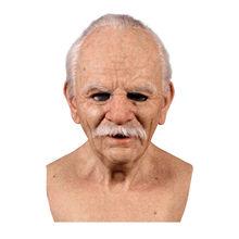Dia das bruxas velho com pescoço longo cinza cabelo cosplay máscara cabeça cheia látex macio férias real peruca máscaras engraçado cosplay festa máscara