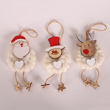 3PCS Wooden Knitted Doll Christmas Pendants Hanging Decorative Ornaments For Holiday Season Festival Home Decor x