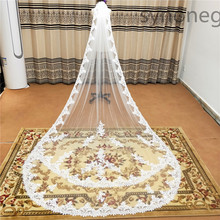 Real Photos Full Edge Lace Wedding Veil One Layer White Ivory Tulle Bridal Veil with Comb Veu de Noiva Longo(China)