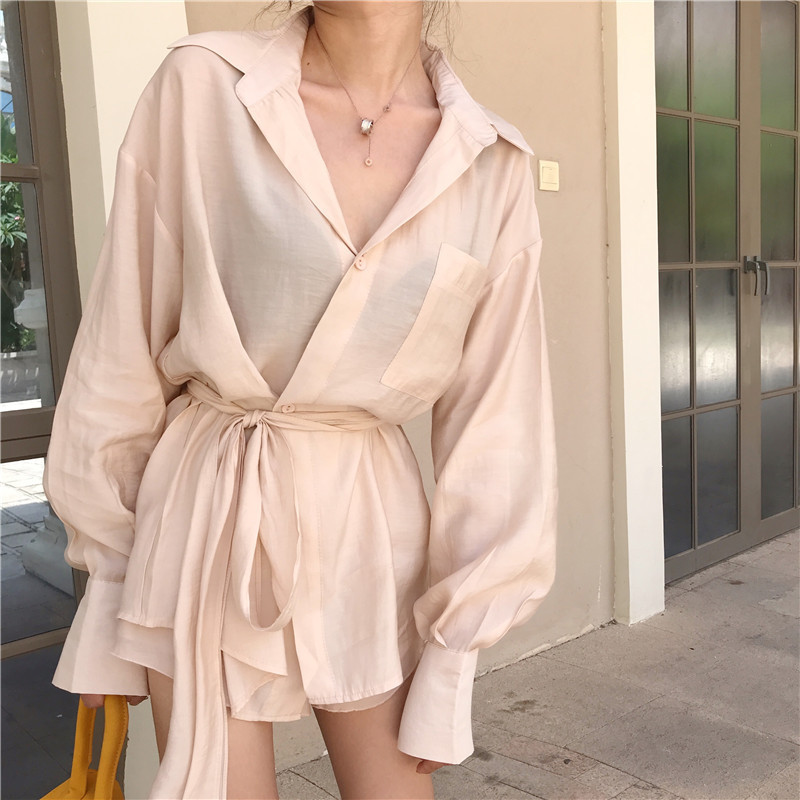 Women 2 Pieces Suits Korean Fashion Summer Long Shirt Shorts Sets Long Sleeve Irregular Blouse Mini Pants Suits Elegant OL Suits