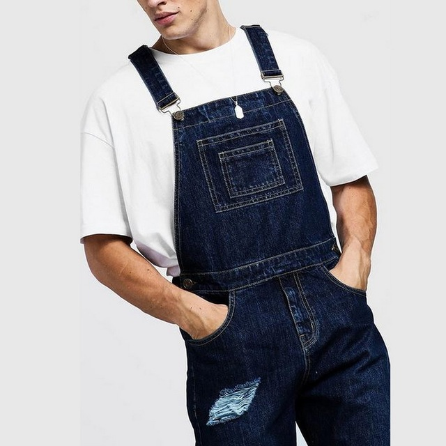 Richkeda Store New Bib Overalls For Man Suspender Pants Men's Jeans Jumpsuits High Street Distressed  Autumn Fashion Size S-3XL 4