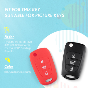 Image 3 - KEYYOU Silicone 3 Button Flip Remote Key Fob Case Cover For for Kia K2 K5 Pro Ceed HYUNDAI i20 i30 i40 SANTA Car Key Cover