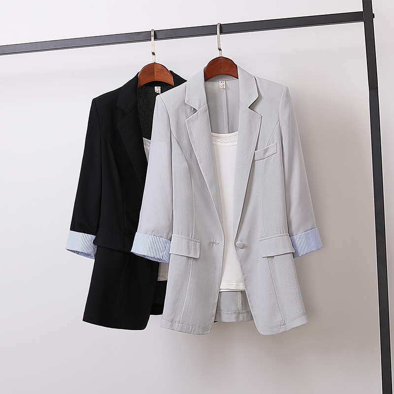 New Spring Summer Korean Cotton Linen Blazers Women Slim Patchwork Striped Large Size Blazer Work Wear Single Button Coat Mw863