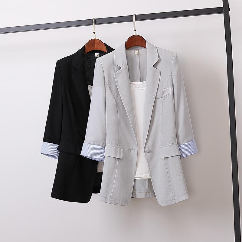 New Spring Summer Korean Cotton Linen Blazers Women Slim Patchwork Striped Large Size Blazer Work Wear Single Button Coat Mw863