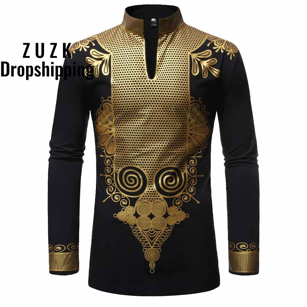 ZUZK long sleeve man shirts Cotton man shirts Fashion tunic men's Slim Fit Printed Muscle Tee shirt Casual Medium length shirt