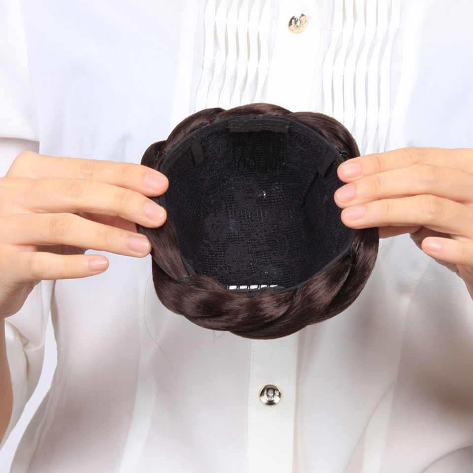 AOOSOO damska Lady Chignon syntetyczny Updo Hairpiece Clip-In Hair BunS Extension czarny biały kobiety 3 kolor brązowy czarny nakrycia głowy