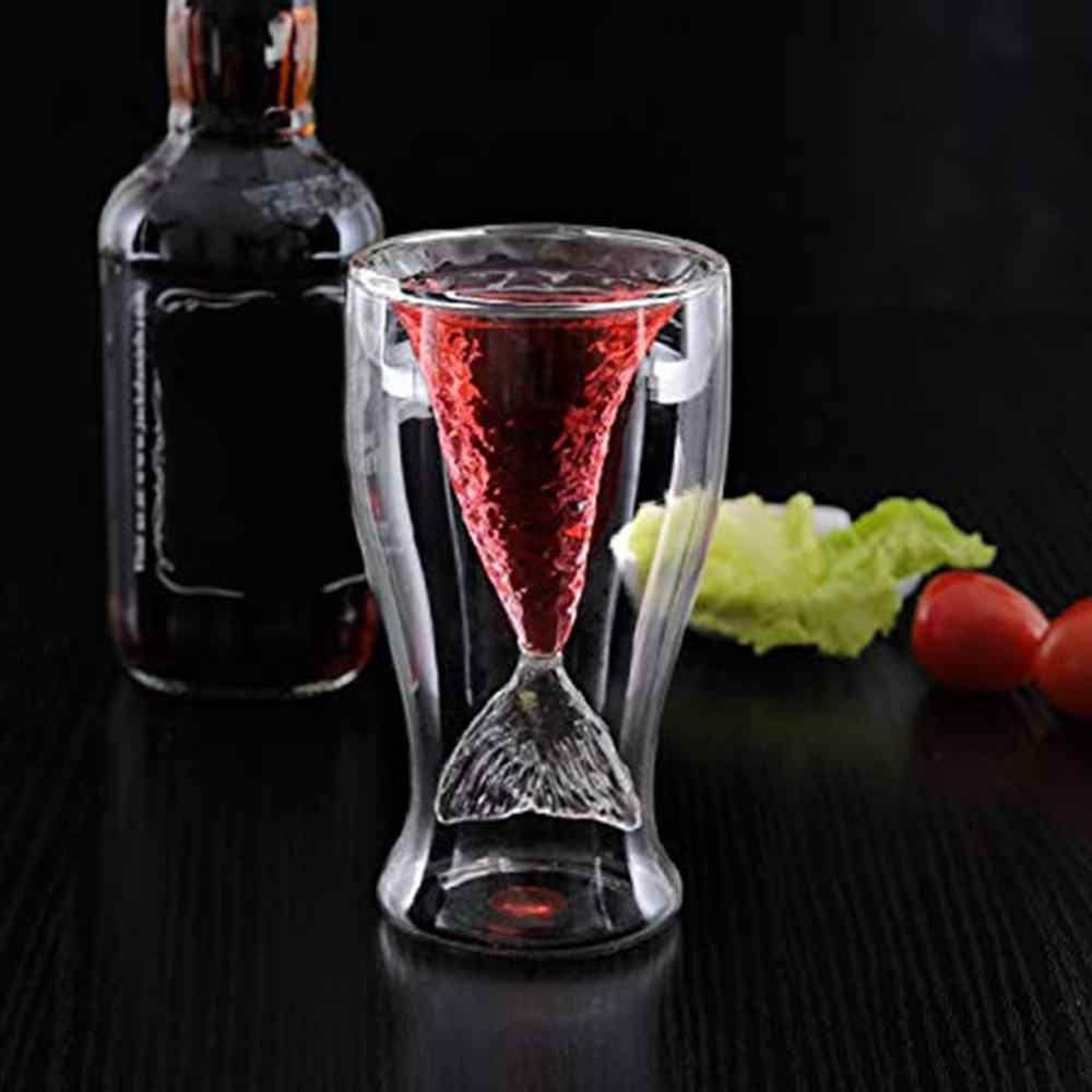 80ml podwójne ścianki szklane kieliszki do czerwonego wina kieliszki do szampana przezroczysty koktajl kufel na piwo syrenka ogon ryby zaprojektowany Barware