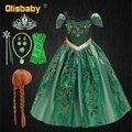 Платье Снежной Королевы для девочек, платье Анны Эльзы, зеленое платье принцессы с вышивкой, костюм Анны на Хэллоуин, элегантные Детские веч...
