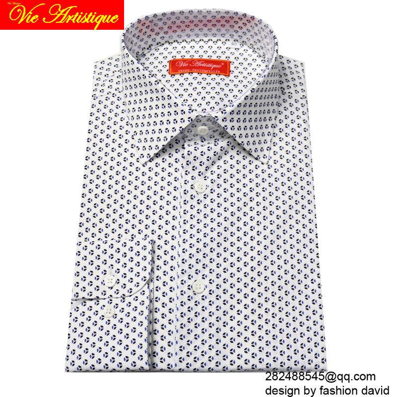 Custom Tailor Made Men's Bespoke Cotton Floral Shirts Business Formal Wedding Ware Blouse White Blue Polka Dot Flower Fashion