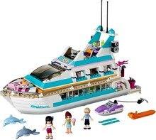 Lepining amigos conjunto série menina brinquedos dolphin cruiser competible 41015 modelo blocos de construção tijolos educativos crianças brinquedos presentes