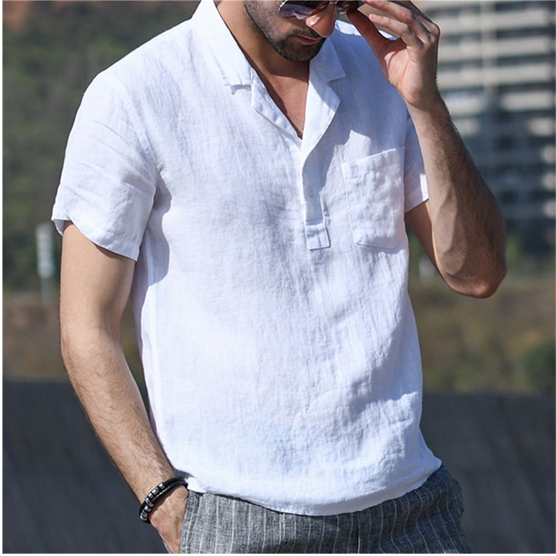 Summer  Jogger Cotton Linen  Man Shirt Baggy Cotton Linen Solid Short V-Neck Hip-hop Casual Blouse Man Shirt