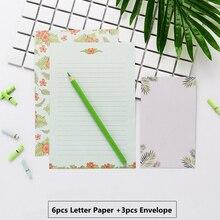6pcs A5 Letter Writing Paper and 3pcs Letter Paper Envelope Set Lovely Flower Writing Stationery Envelopes Kit School Stationery