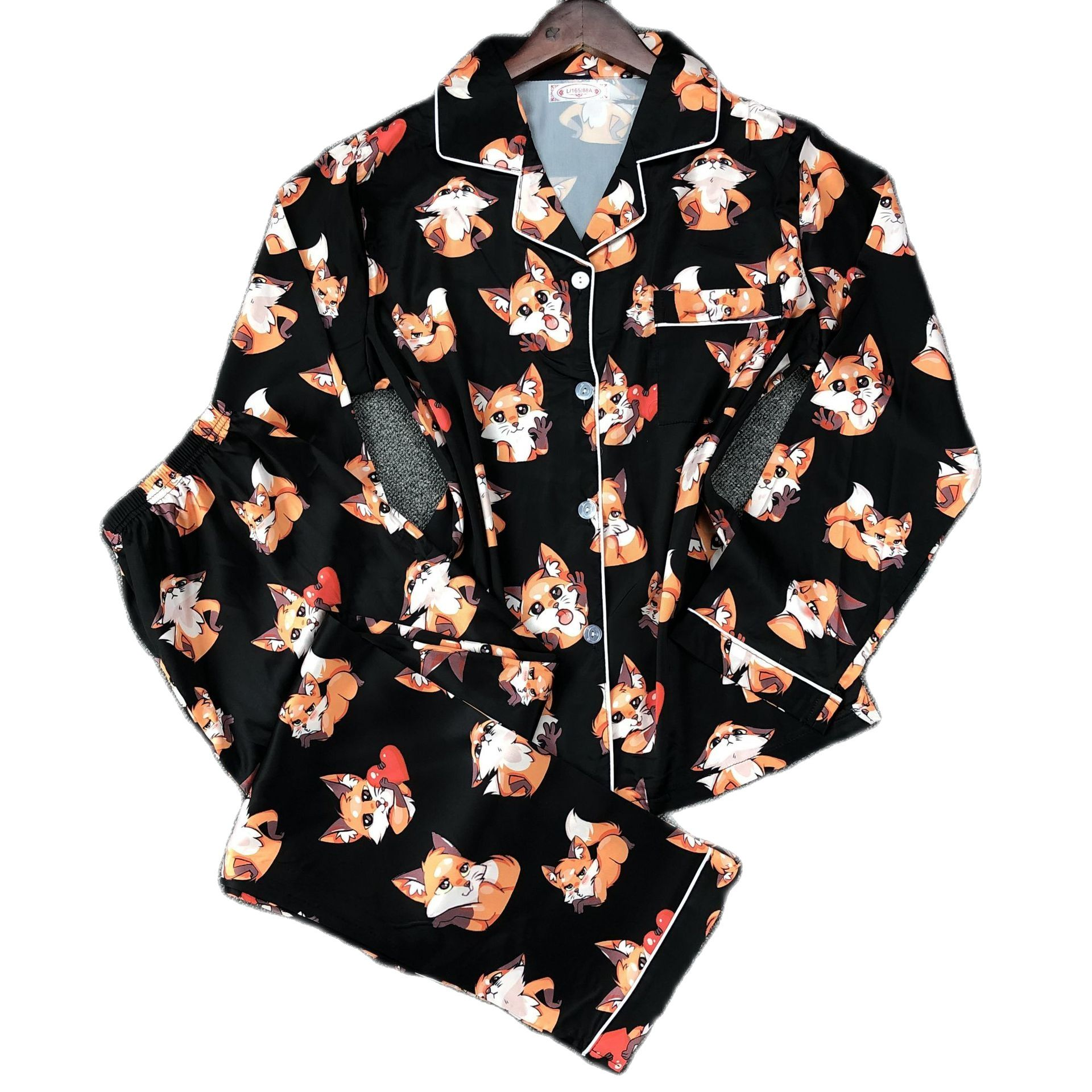 sleepwear cute kawaii pajama party set girls lounge bedroom two piece sets sleep tops teen girl women long pantsCartoon pattern