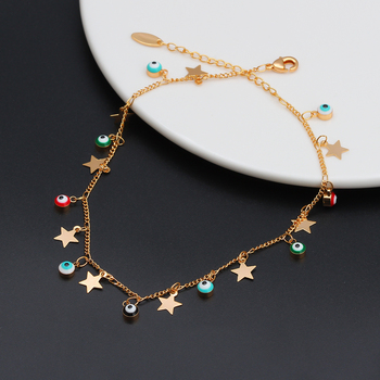 EVIL EYE Star Charm Anklet Bracelet Gold Color Foot Chain Adjustable Turkish Eye Ankle Fashion Jewelry for Women Female EY6502 4