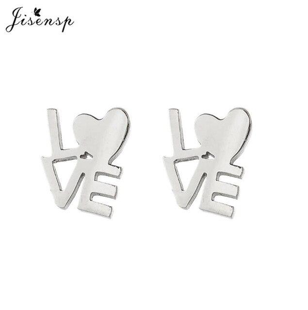 Jisensp Earrings For Women Stainless Steel Earrings Romantic Heart English Alphabet LOVE Piercing Stud Earrings Korean Jewelry