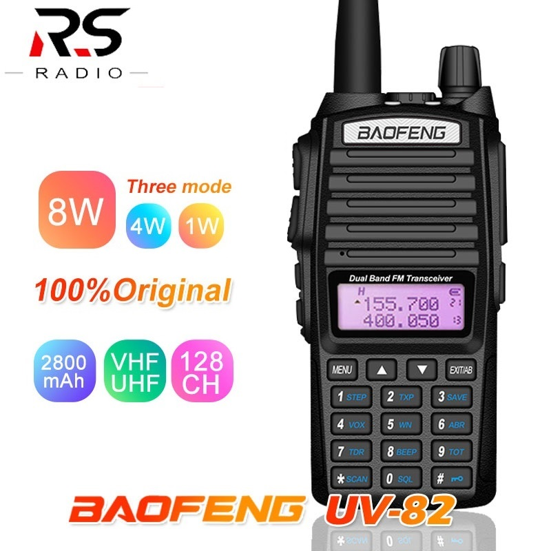 8W Baofeng UV-82 Walkie Talkie Quad Band VHF UHF Amateur Ham Radio Transceiver 8Watts UV 82 Plus Hunting CB Radio Scanner PMR446