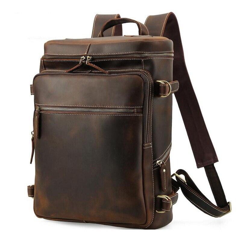 MAHEU, новый дизайн, кожаный рюкзак для мужчин, 16 дюймов, рюкзак для ноутбука, Воловья кожа, школьная сумка, дорожный рюкзак, мужская сумка, улич