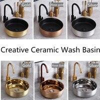 Countertop Basin Ceramic Gold Wash Basin Small Size Round Washbasin Wash Hand Basins Ceramic Gold Toilets Portable Sink