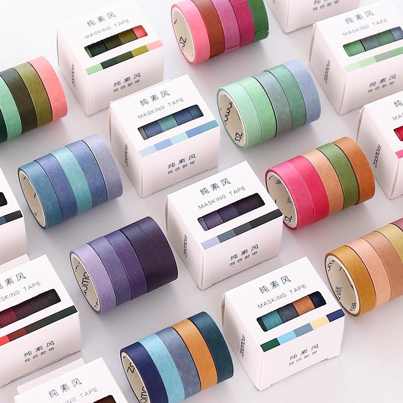 5 Pcs / Set Washi Tape Solid Color Stationery Kawaii Masking Tape Cute Scrapbooking Washitape Cinta Adhesiva Decorativa Vintage
