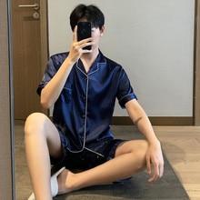Новинка отложной воротник мужские лето с короткими рукавами шорты пижамы комплект большой размер шелк пижамы досуг костюмы ночное белье мужские пижамы