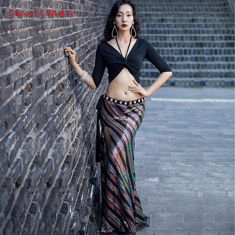 Women Dance Clothing New Suit Autumn And Winter Belly Dance Practice Clothing Women Sexy Long Skirt Costume Suit