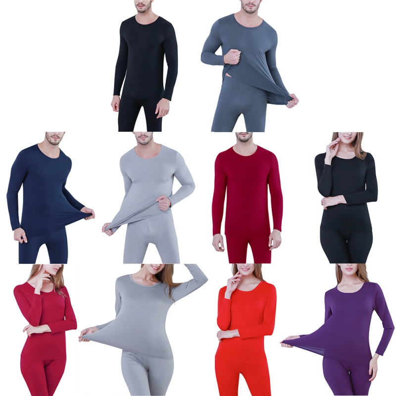 Modal Thermal Long Johns Underwear Set Tops+Pants Women's Men Autumn Winter Shaping Body Clothing Solid Color Soft Underwear Y7