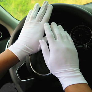 1Pair Spring Summer Spandex Gloves Men Black White Etiquette Thin Stretch Gloves Dance Tight Jewelry Gloves Hands Protector