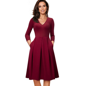 Image 5 - Nice forever Vintage Solid Color V neckline Pinup Pockets vestidos A Line Business Party Female Flare Swing Women Dress A126