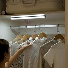 Pir sensor de movimento led sob a luz do armário auto ligar/desligar 6/10 leds 98/190mm para o armário do quarto da cozinha guarda roupa luzes da noite