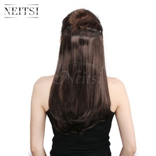 Neitsi 14'' 8 Clips 3Pcsset Straight Synthetic Clip in Heat Resistant Fiber Hair Extensions Middle Brown 75g