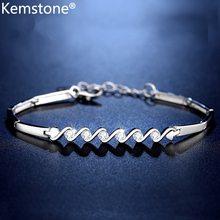 Kemstone AAA кубический цирконий посеребренный медный волнистый браслет ювелирные изделия подарок для женщин