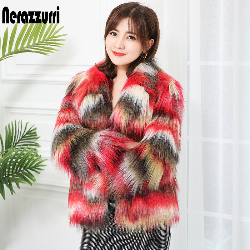 Nerazzurri Multicolor Faux Fur Coat Women Notched Lapel Long Sleeve 2019 Runway Womens Fashion Coats Plus Size Faux Fur Jacket