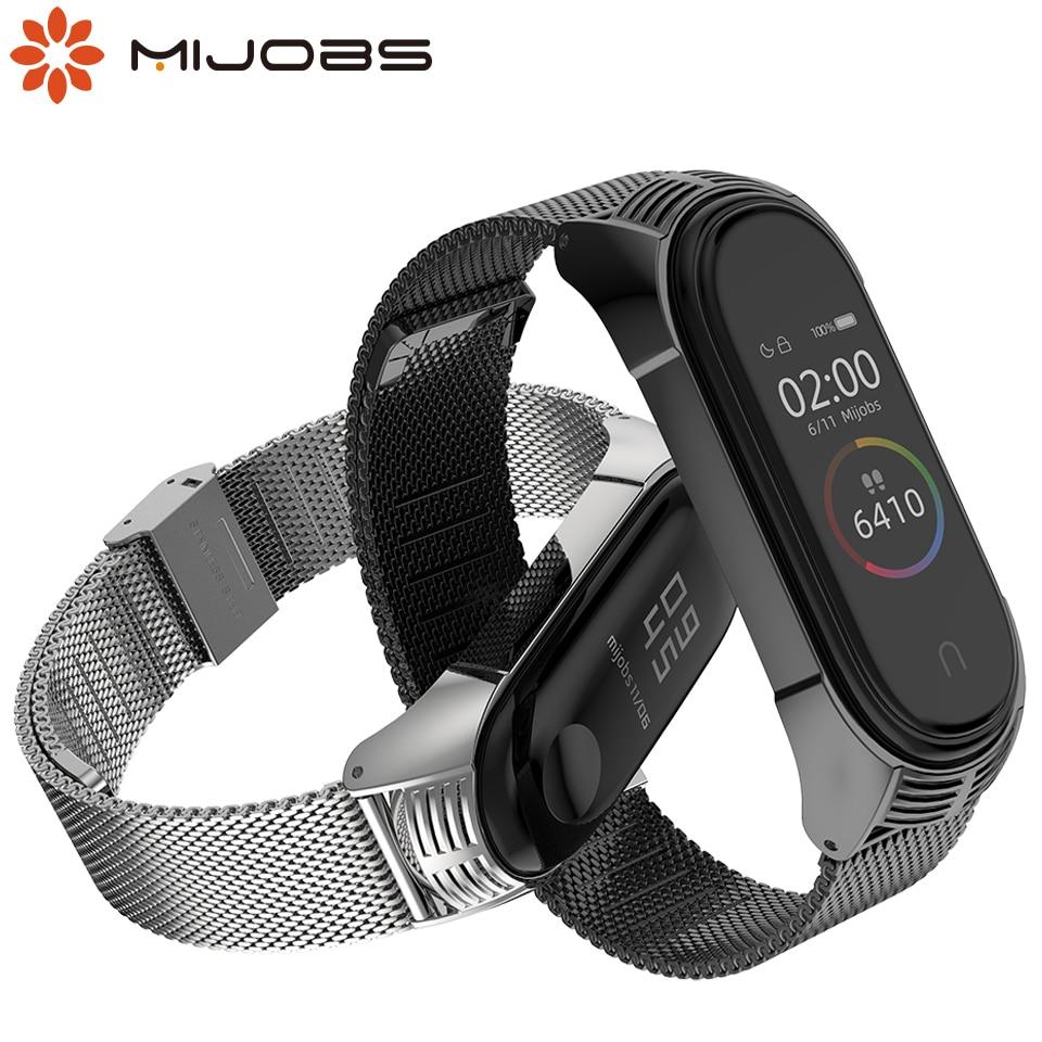 Mijobs Mi Band 4 Strap Metal Milanese Stainless Steel For Xiaomi Mi Band 4 NFC Strap Bracelet Wrist Pulseira Miband 3 Correa