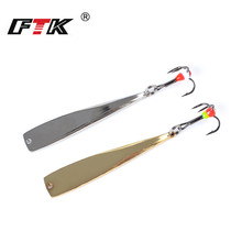 FTK 1PC Spoon Ice Fishing Lure 6g/8g 65mm/75mm 2 colors Metal Allum Bass Bait Spinner Treble 6# Hook Hard lures